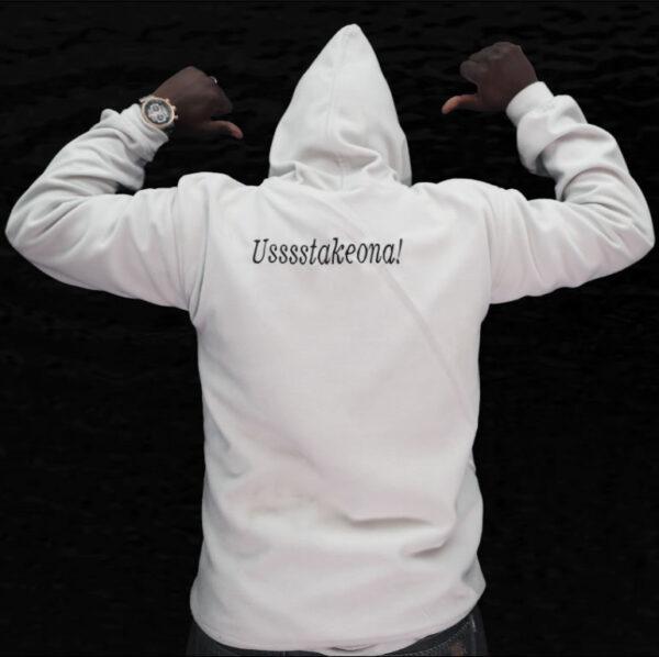 white budaboss branded hoodie