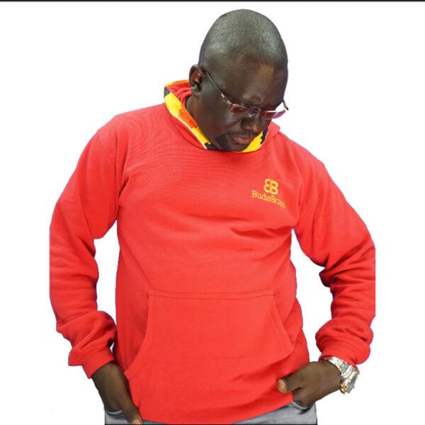 red branded hoodie